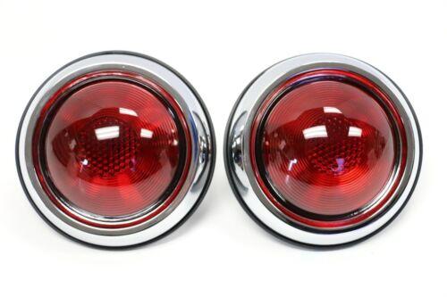 PAIR 1950 Pontiac Style Glass Red Lens Tail Light 12 Volt Chrome Housings