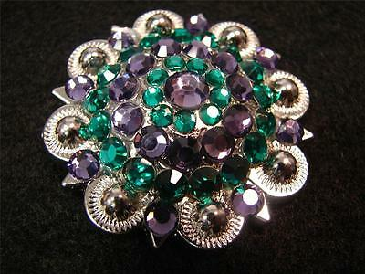 "1.5"" Western Rodeo Headstall Concho Peacock colors Purple Green BERRY Conchos"