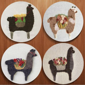 Cute-Alpaca-Pattern-DIY-Needlework-Kits-Stamped-Embroidery-Making-Kits