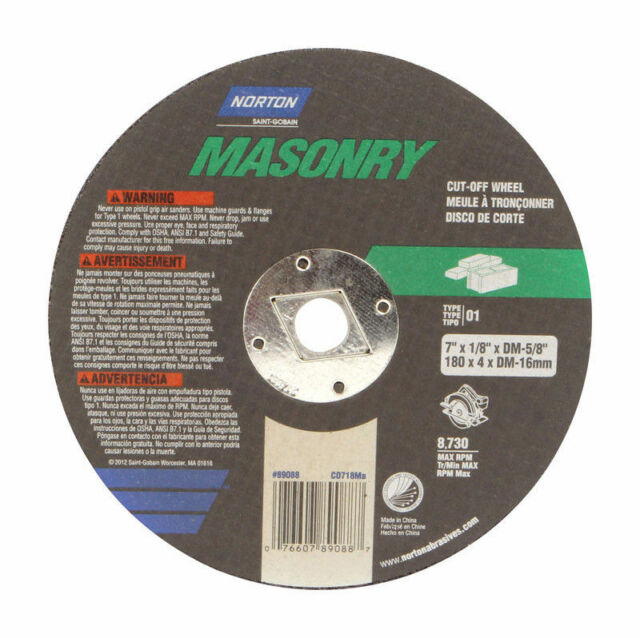 "NORTON CUT-OFF WHEEL 7""X 1/8""X DM-5/8"" MASONRY 89055"