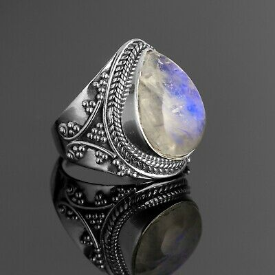 925 Sterling Silver Moonstone Ladies Single Stone Ring size J