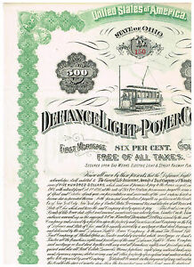 Defiance-Light-and-Power-Co-1891-500-Gold-Bond-uncancelled-coupons