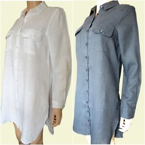 Ex-Fat-Face-Ladies-Black-White-Linen-Long-Tabitha-Summer-Shirt-Size-6-18