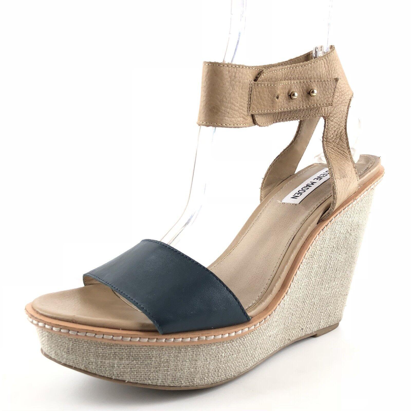 Steve Madden Bevrlie Beige Multi Leder Platform Wedge Sandale Damenschuhe Größe 9.5 M
