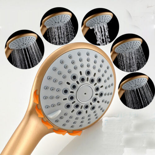 Gold Polished 5 Functions Massage Rainfall Round ABS Hand Held Shower Head