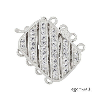 Sterling Silver Flower Rectangle 4 Strand Micro Pave Cz Crystal Pearl Box Clasp