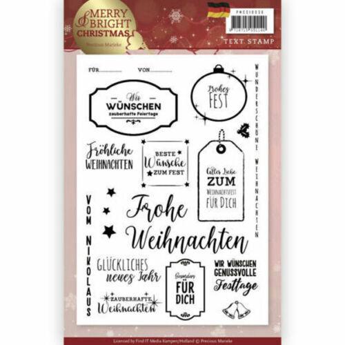 Precous Marieke Weihnachtsgrüße - Merry and Bright Christmas Textstempel
