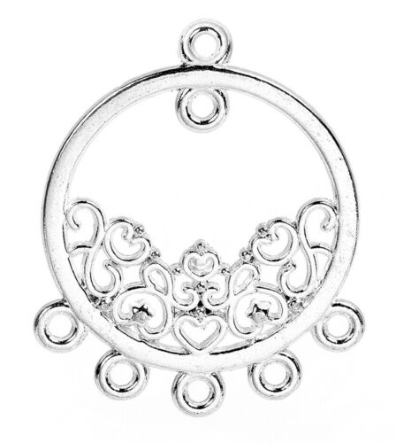 Chandelier Earring Finding Round Connector Scroll Charm Shiny Silver Plated
