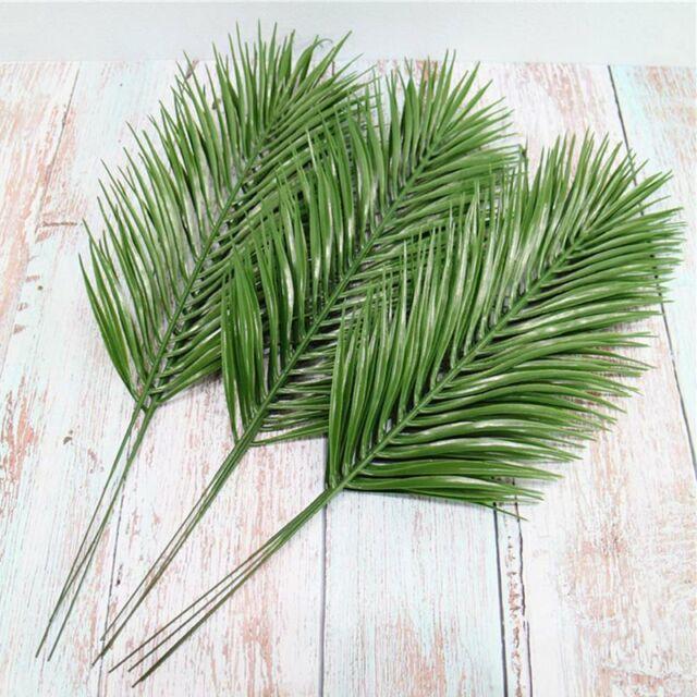 3//6x Artificial Palm Leaves 52cm Green Plastic Faux Fern Cycas Home Garden y0l