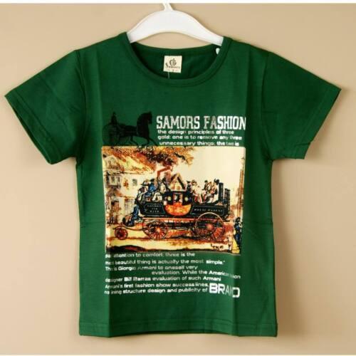 New 2016 Super Cute Cool Classic Lycra Green Boys Childrens Cotton T Shirt Top