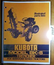 Kubota Bk 6 Trencher For B6000 Tractor Illustrated Parts List Manual