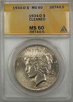 1934 Peace Silver Dollar ANACS MS-60 Details Cleaned