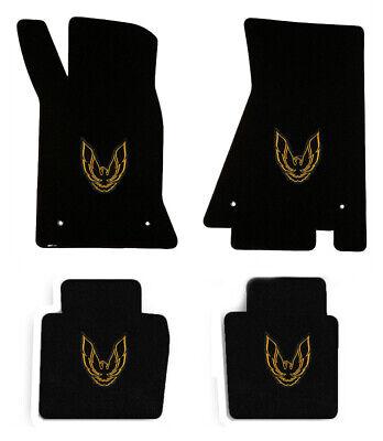 FLOOR MATS 1982-2002 PONTIAC FIREBIRD Embroidered Double Logo Gold set 4 NEW