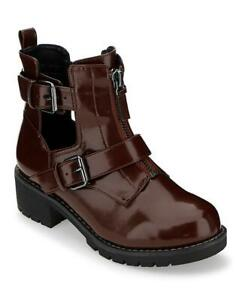 LADIES-BURGUNDY-E-EEE-EXTRA-WIDE-FIT-BUCKLE-CALF-ANKLE-BOOTS-COMFY-SHOES-UK-4-9