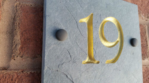 """Natural Slate 12/""""x 8/"""" House Sign// Number Plaque Quality Deep Carved Personalised"""
