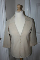 Roman Originals Top Size 12 Cream Blouse with Bead Detail on Collar Ladies