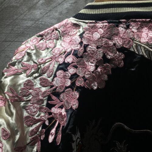 Hommes Manteau Veste D'extérieur japonais motif brodé réversible Dragon manteau