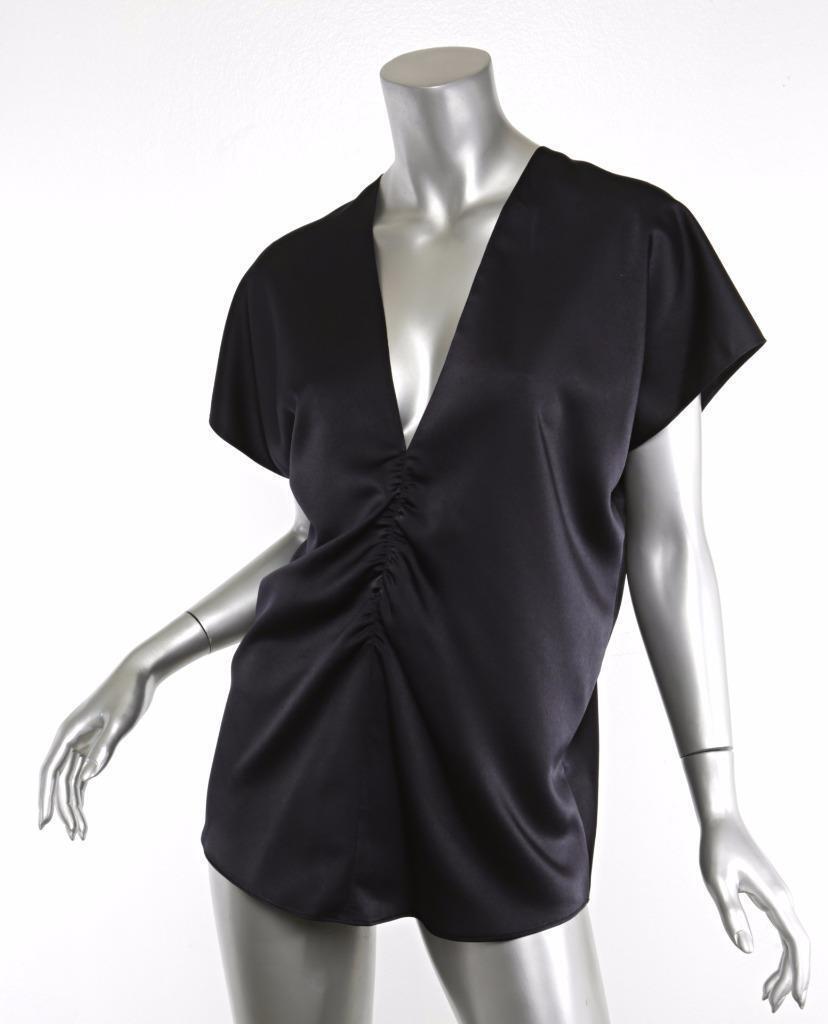 LANVIN 2013 damen Navy Blau V-Neck Ruched Butterfly Top Blouse Shirt 6-38 NWT