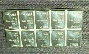 TEN (10) 1 GRAM 999 FINE SILVER VALCAMBI SUISSE BARS!