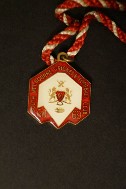 South Melbourne - 1968 - Football & Cricket Club - Members Badge - w/ Cord