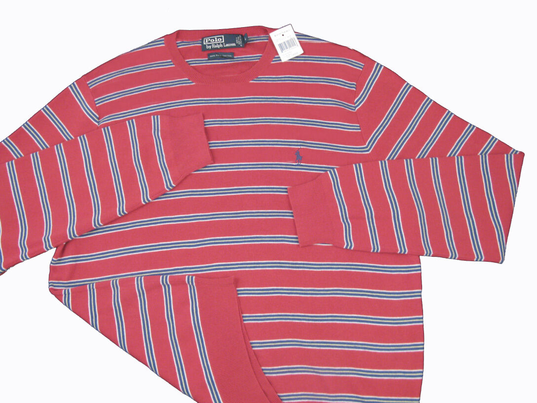 NEW  Polo Ralph Lauren Pure Pima Cotton Striped Sweater  Red, Navy or Green