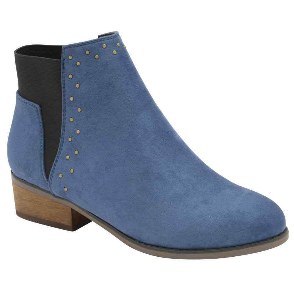 DOLCIS WENDY BLUE CHELSEA MEMORY FOAM LOW WESTERN HEEL HEELED ANKLE BOOTS UK 4