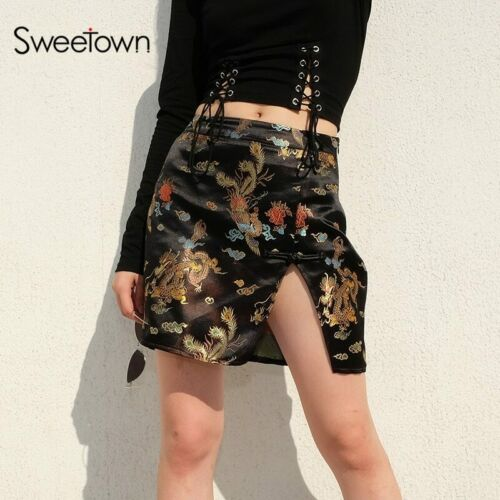 Fashion Trend black Dragon Print satin slit mini Skirt