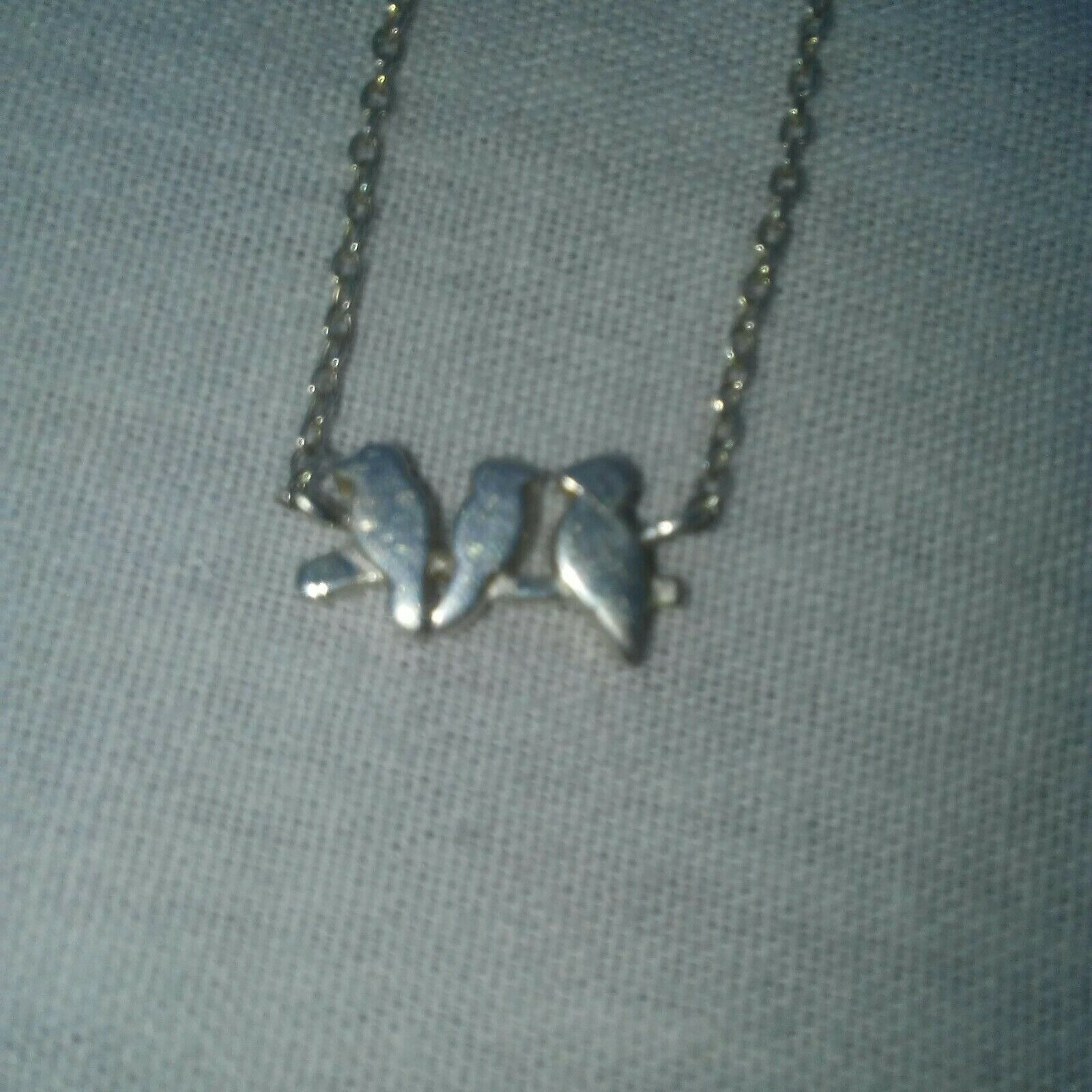 3 Birds on Branch .925 Silver Necklace Triangle Followed by a Circle Symbol 15
