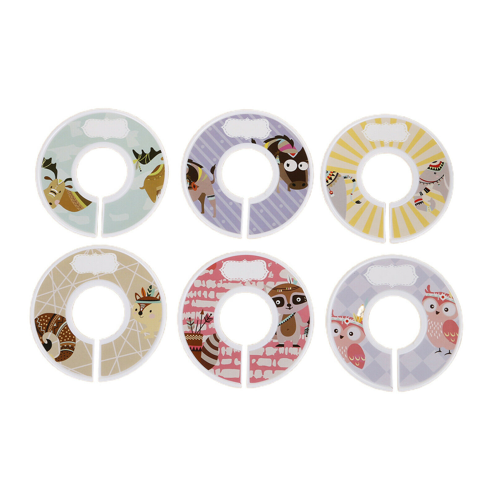 Baby Clothing Rack Size Dividers Round Plastic Clothes Size Tags Rings