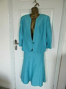 OCCASION-WEDDING-AQUA-JACKET-SKIRT-BY-JAQUES-VERT-UK-14-FULLY-LINED-IN-EX-COND