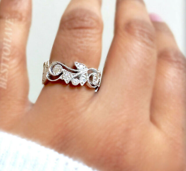 New 925 Sterling  Silver Ladies Wedding Engagement Bridal Band Ring