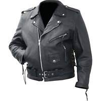 Mans Classic Motorcycle Jacket Genuine Cowhide Leather By Rocky Mountain Hides™