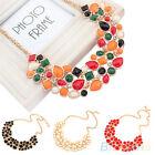 New Fashion Womens Geometric Pattern Bib Statement Metal Chain Necklace Pendant