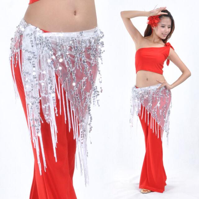 Belly Dance Costume Tribal Triangle Sequins Tassel Hip Scarf Skirt Belt 12 Color