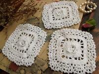 3PCS Lot -Vintage HAND Crochet Lace Doily WHITE Cotton ROSETTES Flower- Wedding