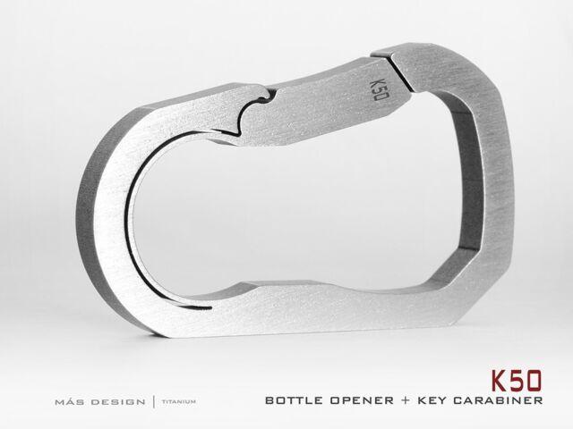 Mas Design Grade 5 Titanium Unibody Key Carabiner - K50Stone Tumbled Finish