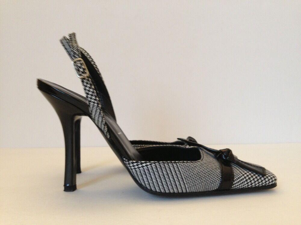 Casadei Black Slingback 4  Heels Made In  Size  7B