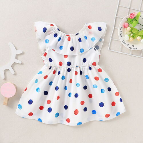 Toddler Kids Baby Girls Polka Dot Mesh Cold Shoulder Dress Ruffle Party Dresses