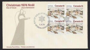 Canada-653-Block-Christmas-Laurentian-Village-New-1974-Unaddressed