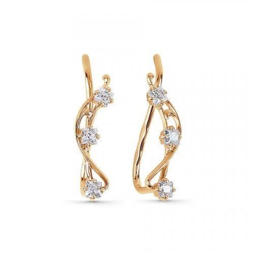Ohrstecker Ohrklemme mit CZ Russische Rotgold 585 Ohrringe 0.99g Cuff earrings