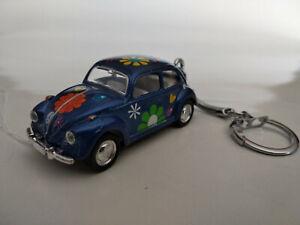 Porte-cle-Volkswagen-coccinelle-peace-and-love-neuf-bleue-longueur-6-5cm