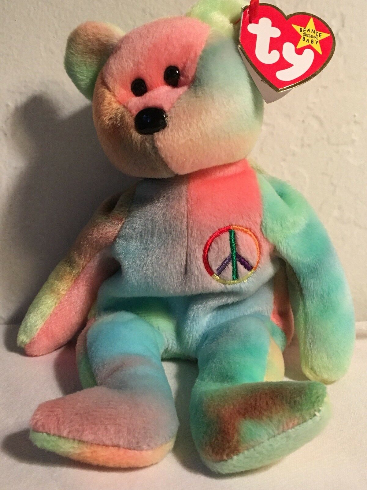 Retired  1996 Ty Beanie Original Baby  PEACE Bear