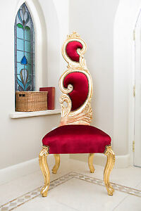 Charmant Image Is Loading Rococo Chair High Back Gold Red Shabby Chic