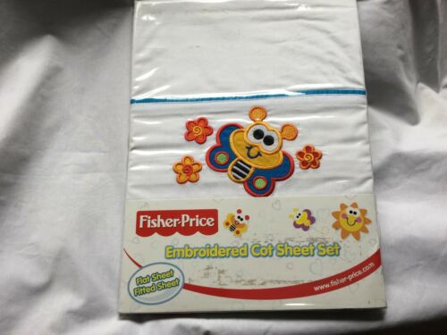 COT SHEET SET BRAND NEW FISHER PRICE EMBROIDERED FLAT AND FITTED