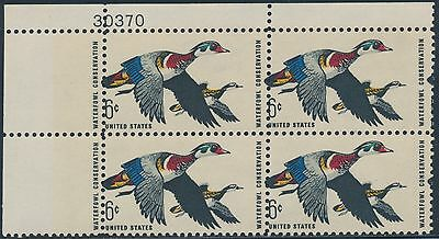 "#1362 Var Errors, Freaks, Oddities ""waterfowl Conversation"" Plate # Blk/4 Major Perf Shift Error Bs7762 United States"