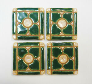 DOGWOOD MOSAIC TILES Handmade Ceramic Grouted Craft Tiles Green / Beige Set of 4