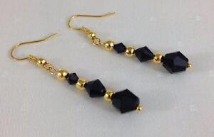 Womens Chinese Gold Tone Crystal Jet Black Bicone Bead Dangle Pierced Earrings - Norwich, United Kingdom - Womens Chinese Gold Tone Crystal Jet Black Bicone Bead Dangle Pierced Earrings - Norwich, United Kingdom