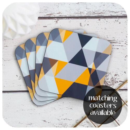 Scandi Geometric Placemat Set of Four Modern Grey /& Mustard Yellow Placemats