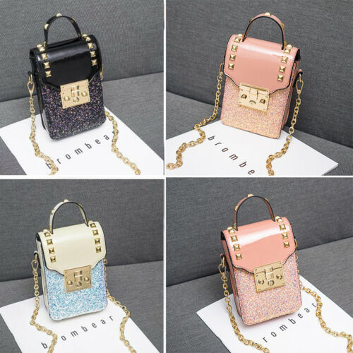 Womens Rivet Purse Coin Wallet Pouch Cell Phone Crossbody Shoulder Bag Leather