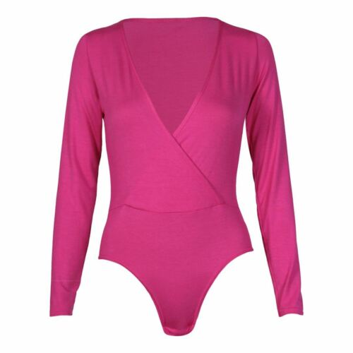 New Womens Plus Size Wrap Over Bodysuits Leotard Tops 8-22